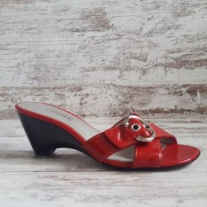 ❤Joan & David Red Glossy Leather Slide Sandal